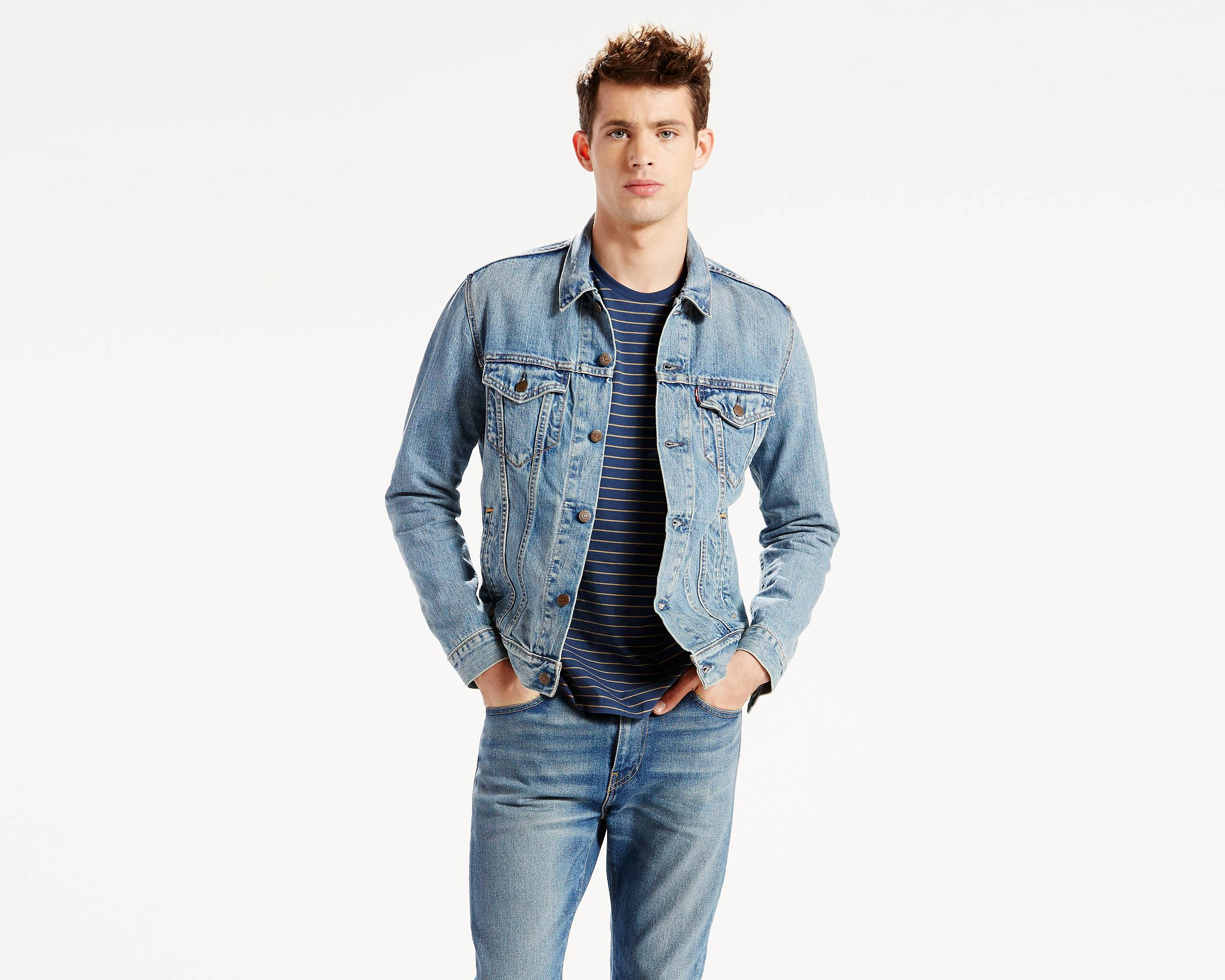 how to wear denim jacket with jeans