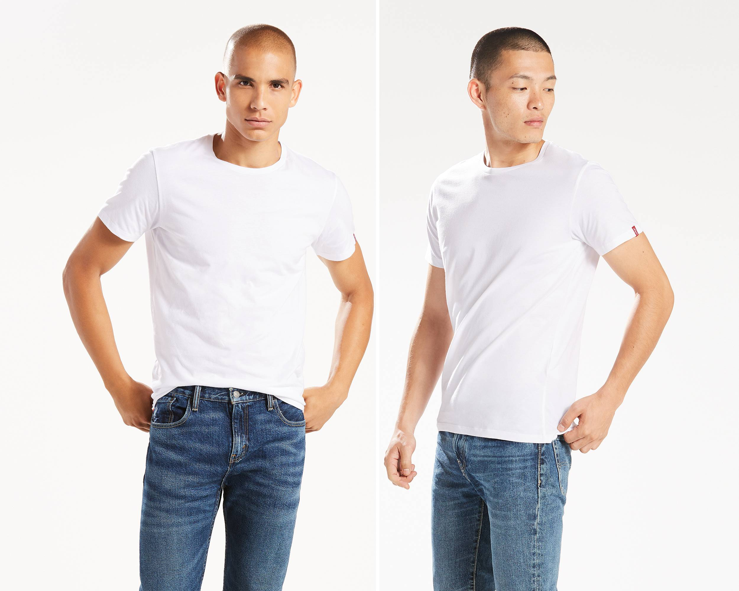 Slim Fit Crewneck Tees 2 Pack White And White Levi 39 S